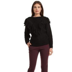 Trina Turk Lilee Black Soft Fringe Wool Sweater